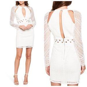 Bardot White Long Sleeve Cutout Dress